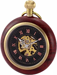 Vintage Open Face Wood Copper Steampunk Skeleton Mechanical Pocket Watch with Chain Gifts CH29
