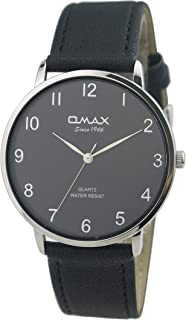 Omax #HX02P22A Men's Leather Strap Wrist Watch, Analog Display, Japanese Quartz Movement, Buckle Clasp, 3 ATM Water Resistant (Black Strap Silver Dial Black Face)