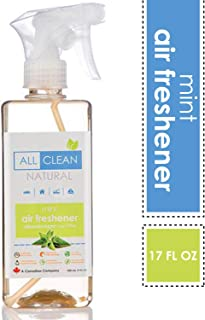 Naturally Clean Air Freshener Mint, 17oz (All-Natural Essential Oil Spray Odor Eliminator) Safe for Kids and Pets, Air Deodorizer for Home, Car, Office, Bathroom Spray