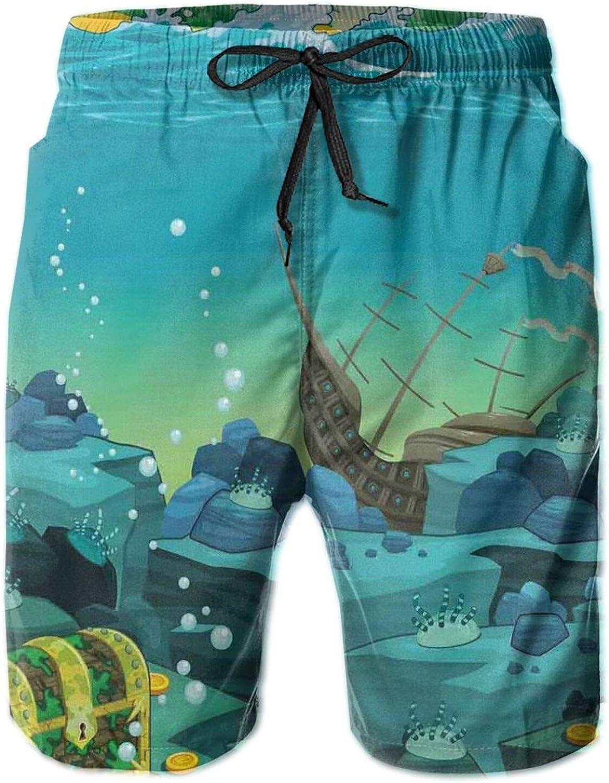 Seascape Underwater with Treasure Galleon and Sunk Ship Pirate Kids Print Printed Beach Shorts for Men Swim Trucks Mesh Lining,XL