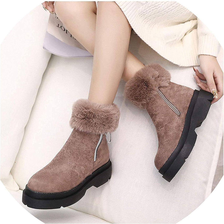 Fashion Women's Winter Ankle Boots Female Zipper Flock Platform Snow Boot Ladies Plush