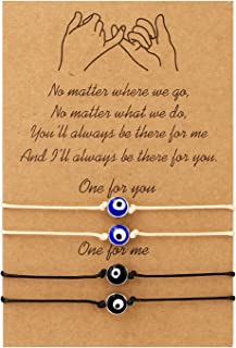 Me&Hz Pinky Promise Matching Distance Friendship Bracelets for Couples Best Friends Women Men Girls Mother Daughter Gift f...