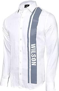 WILSON MARTIN Men's Casual White Designer Printed Cotton Shirt for Men