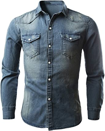 Mens Denim Shirt, Lonshell Long Sleeve Button Down Dark Wash Cowboy Shirt Western Casual Shirt Plus Size Casual Top