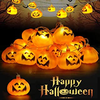 Runostrich Lichtsnoer met pompoen, 3 m, 20 leds, Halloween-kerstdecoratie, lichtketting, hangende lantaarn, voor binnen en...