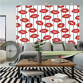 SoSung Glamour Wall Mural,Sexy Woman Lips Behind The Bars Female Love Romance Valentines Day Print Decorative,Self-Adhesive Large Wallpaper for Home Decor 83x120 inches,Scarlet Grey White