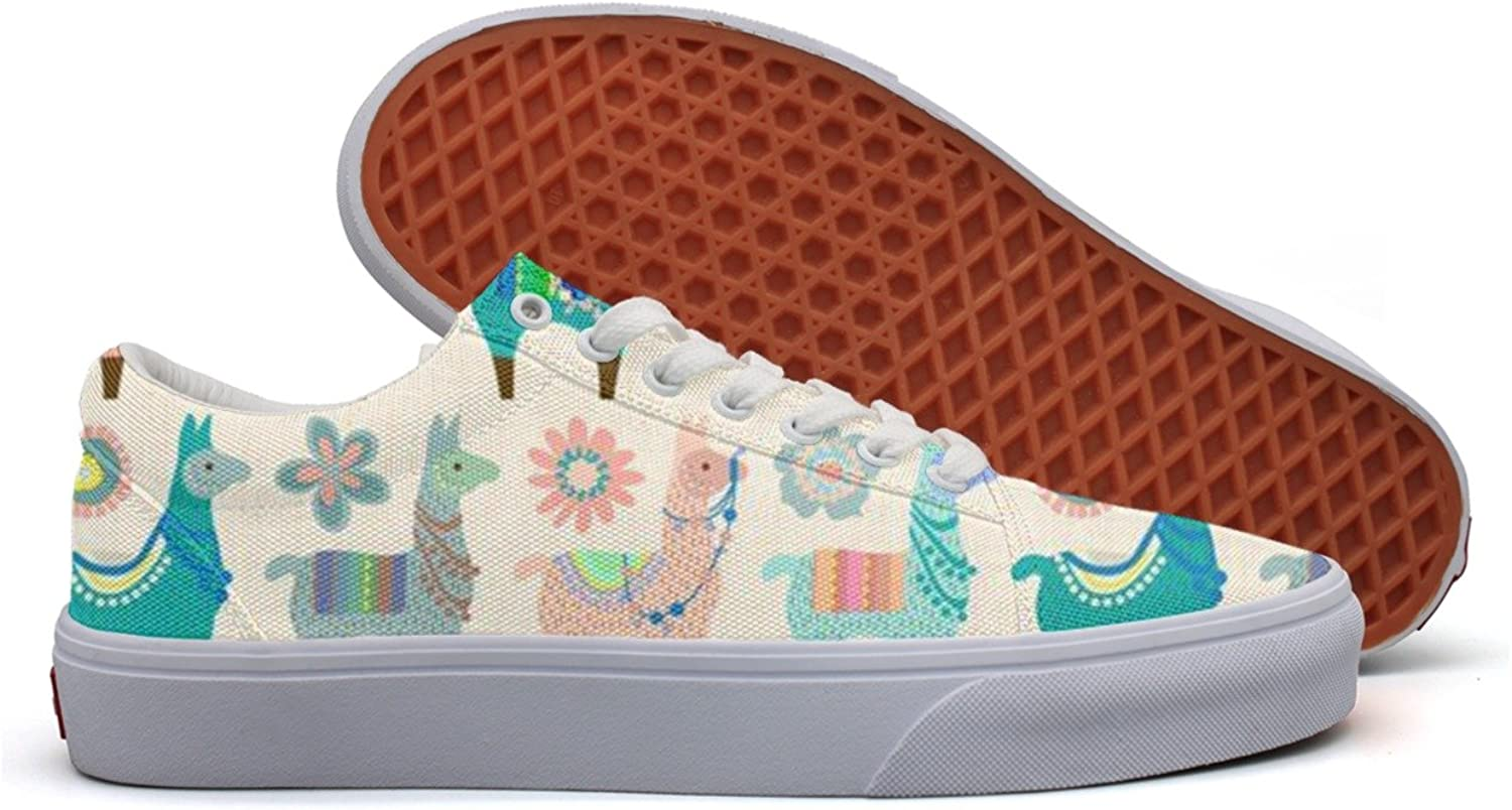 HTEAQWEF Vintage Llama Fun Print Sneaker Flat Canvas shoes for Womens Stylish