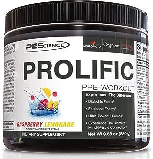 PEScience Prolific Preworkout Powder, Raspberry Lemonade, 40 Scoops