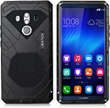 Huawei Mate 10 Pro Case, Cresee Hybrid Armor Aluminum Metal Shockproof Bumper Frame Case Soft Rubber Silicone Military Heavy Duty Hard Case with Kickstand Tempered Glass Gift for Mate 10 Pro (Black)