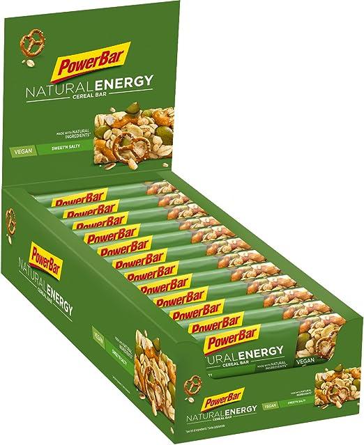 PowerBar Natural Energy Cereal Sweetn&Salty 24x40g - Barras de Energía de Carbohidratos Veganos + Magnesio