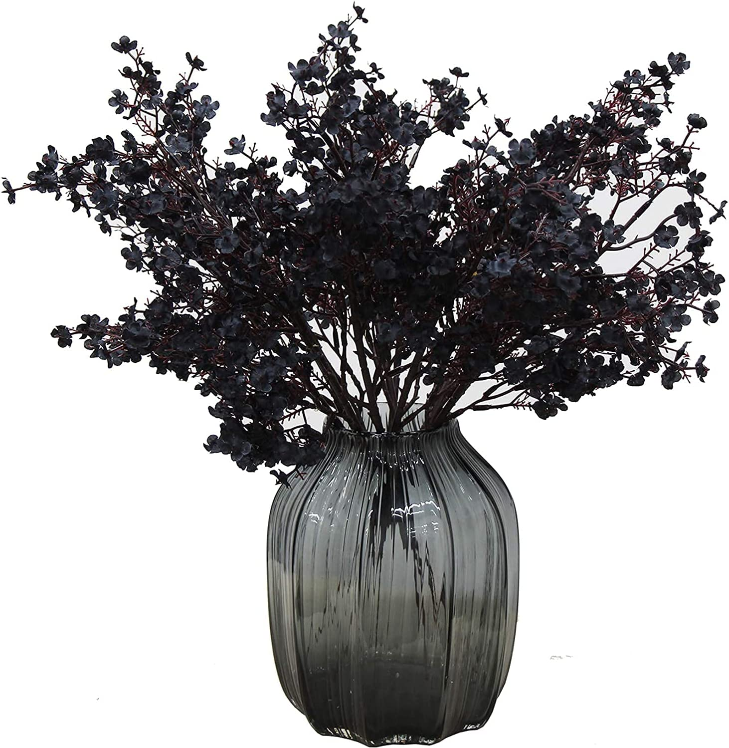 Cratone 6PCS Artificial Hydrangea Babys Breath Fabric Cloth Faux Flowers Fake Silk Plants Real Touch Flower Bouquets for Halloween Wedding Party Home Garden Decor (Black)