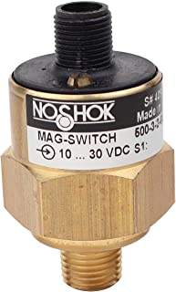 NOSHOK 500 Series Brass Electronic Pressure Mag-Switch, 2 Normally Open, 100 mA, 1/4