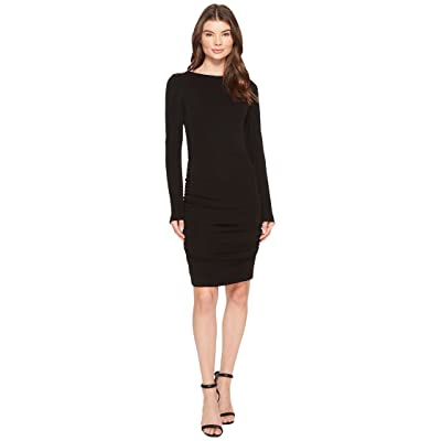 Nicole Miller Stretchy Matte Jersey Long Sleeve Dress (Black) Women