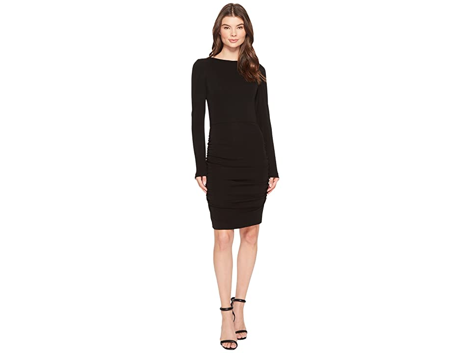 Nicole Miller Stretchy Matte Jersey Long Sleeve Dress (Black) Women