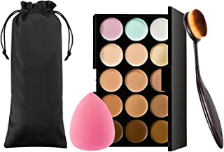 Vtrem Conture Makeup Palette Powder 15 Colors Cream Concealer Camouflage Eye Shadow Face Contouring Foundation Palette with Toothbrush Foundation Brush/One Powder Sponge