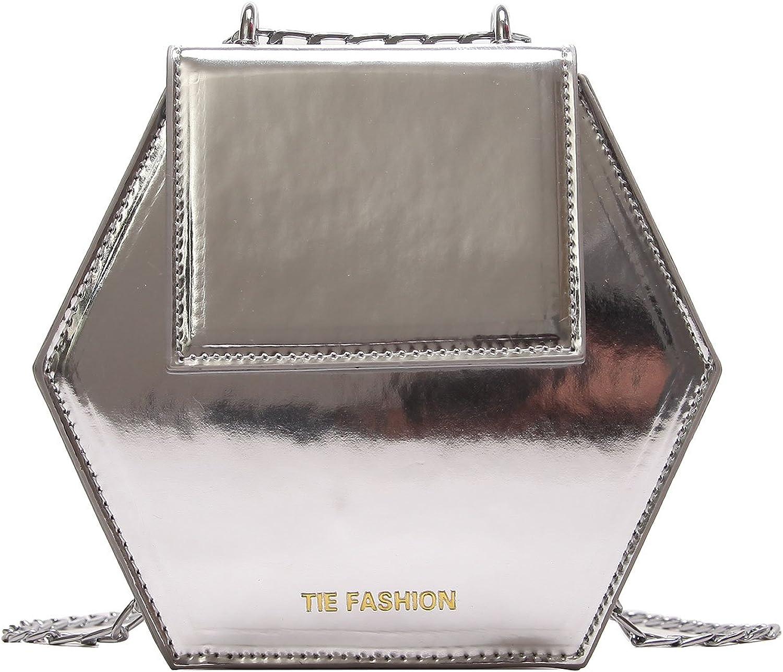 Girls Patent Leather Hexagon Cross Body Bag Cute Fashion Purse