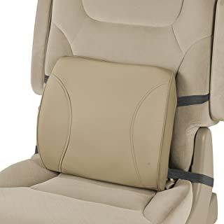 MotorTrend Lumbar Back Support - Portable Orthopedic Lumbar Back Support Memory Foam & PU Leather Seat Cushion. This Lumbar support helps promote good posture while sitting. (Beige)