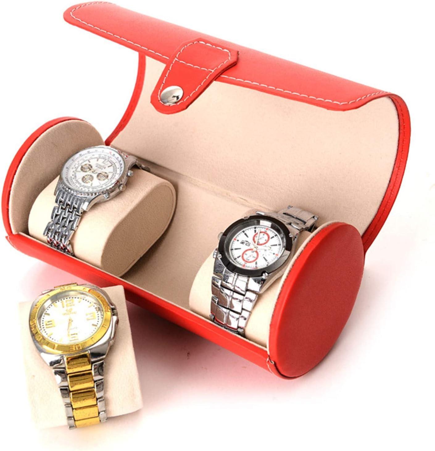 YC-Caja de Regalo Naranja 3 dígitos Reloj de Reloj cilíndrico Caja de Calidad PU Reloj de relojería de relojería