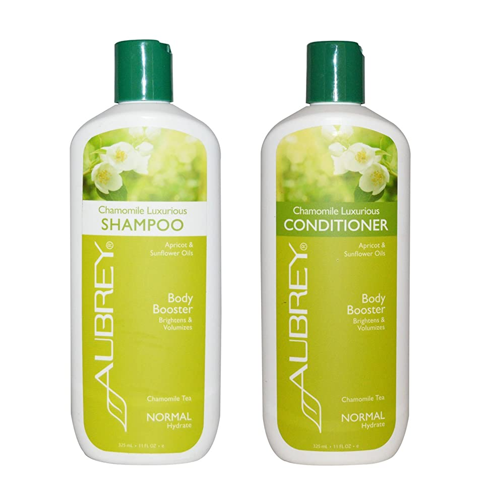 Aubrey Organics Chamomile Luxurious Shampoo and Aubrey Organics Chamomile Luxurious Conditioner Bundle With Apricot and Sunflower Oils For Body Booster and Normal Hydrate, 11 fl oz (325 ml) each