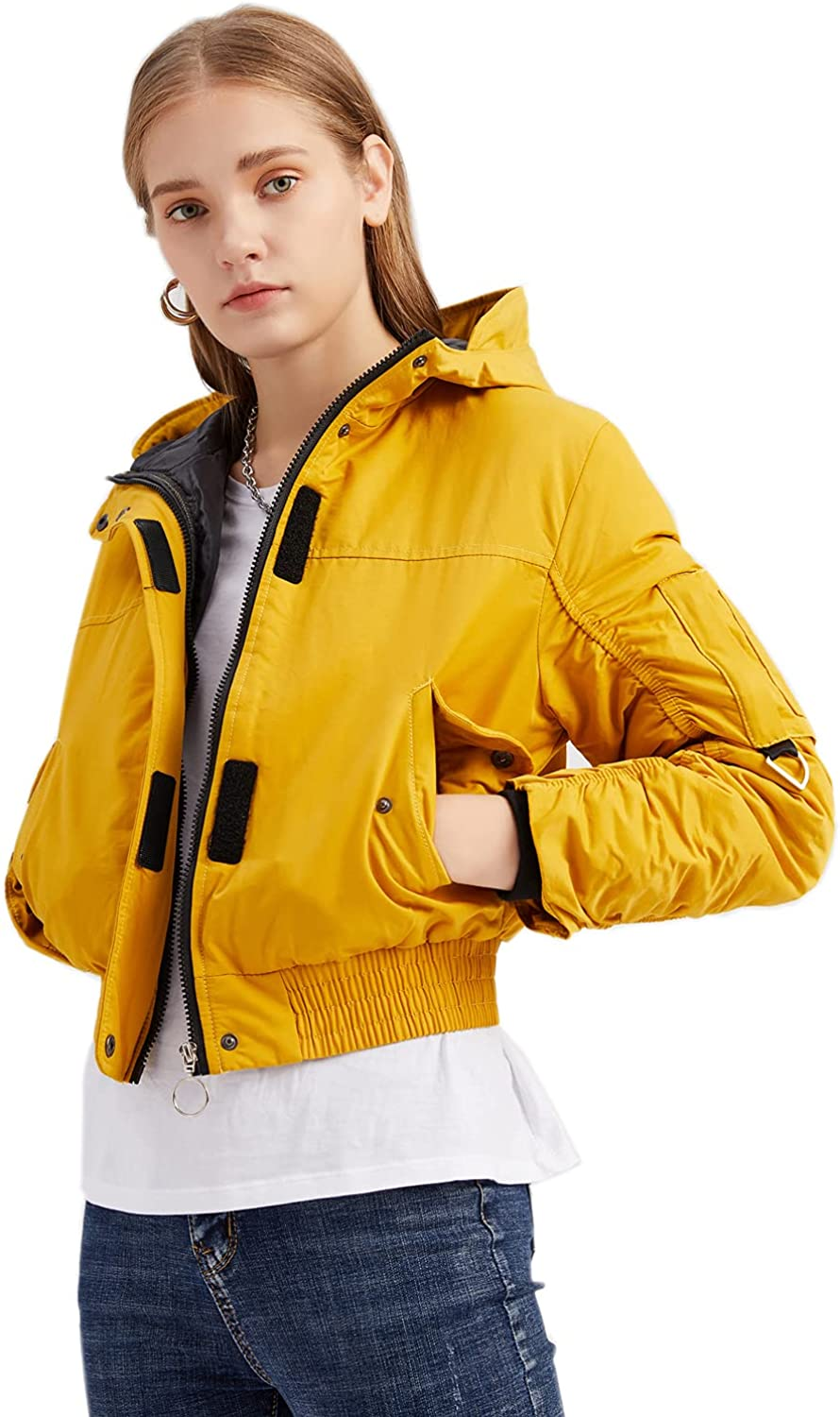 GZDMFS Womens Casual Hooded Crop Jackets Lightweight Quilted Padded Short Slim Coat Outwear