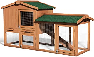 Tangkula Large Chicken Coop, 58'' Wooden Hen House Outdoor Backyard Garden Bunny Rabbit Hutch with Ventilation Door, Removable Tray & Ramp Chicken Nesting Box (58 inches)