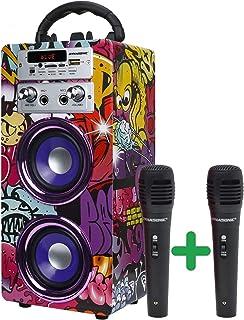 DYNASONIC (3.ª generación) - Altavoz Portátil Bluetooth | Lector USB y SD, Radio FM Incorporada y 2 Micrófonos, Batería Re...