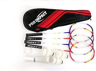 Pro Impact Badminton Set Aluminum Head w/Steel Shaft - Includes Rackets, Feather Shuttlecocks & Carry Case Outdoor Games for Kids Adults Family