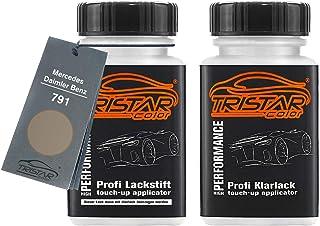 TRISTARcolor Autolack Lackstift Set für Mercedes/Daimler Benz 791 Duenenbeige Metallic Basislack Klarlack je 50ml