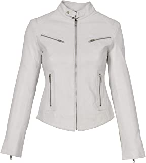 HOL Ladies Genuine Leather Biker Style Slim fit Casual Jacket Khloe White