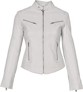 HOL Ladies Genuine Leather Biker Style Slim fit Casual Jacket Khloe White