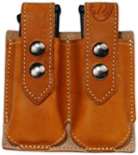 Barsony New Saddle Tan Leather Double Magazine Pouch for Full Size 9mm 40 45