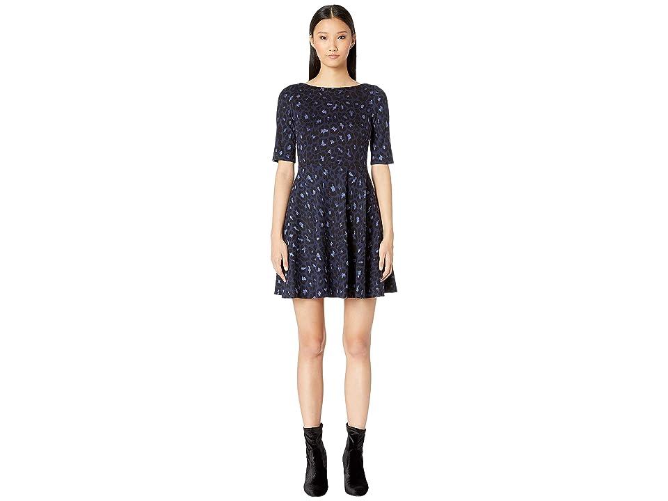 Kate Spade New York Leopard Lace-Up Ponte Dress (Light Adriatic Blue) Women