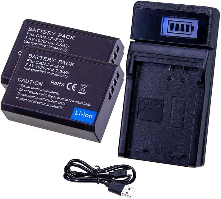LUMOS Reemplazo batería LP-E10 (Paquete de 2) y cargador USB - 1020mah 74V - compatible con Cámara Canon EOS 2000D 4000D 1300D 1200D 1100D