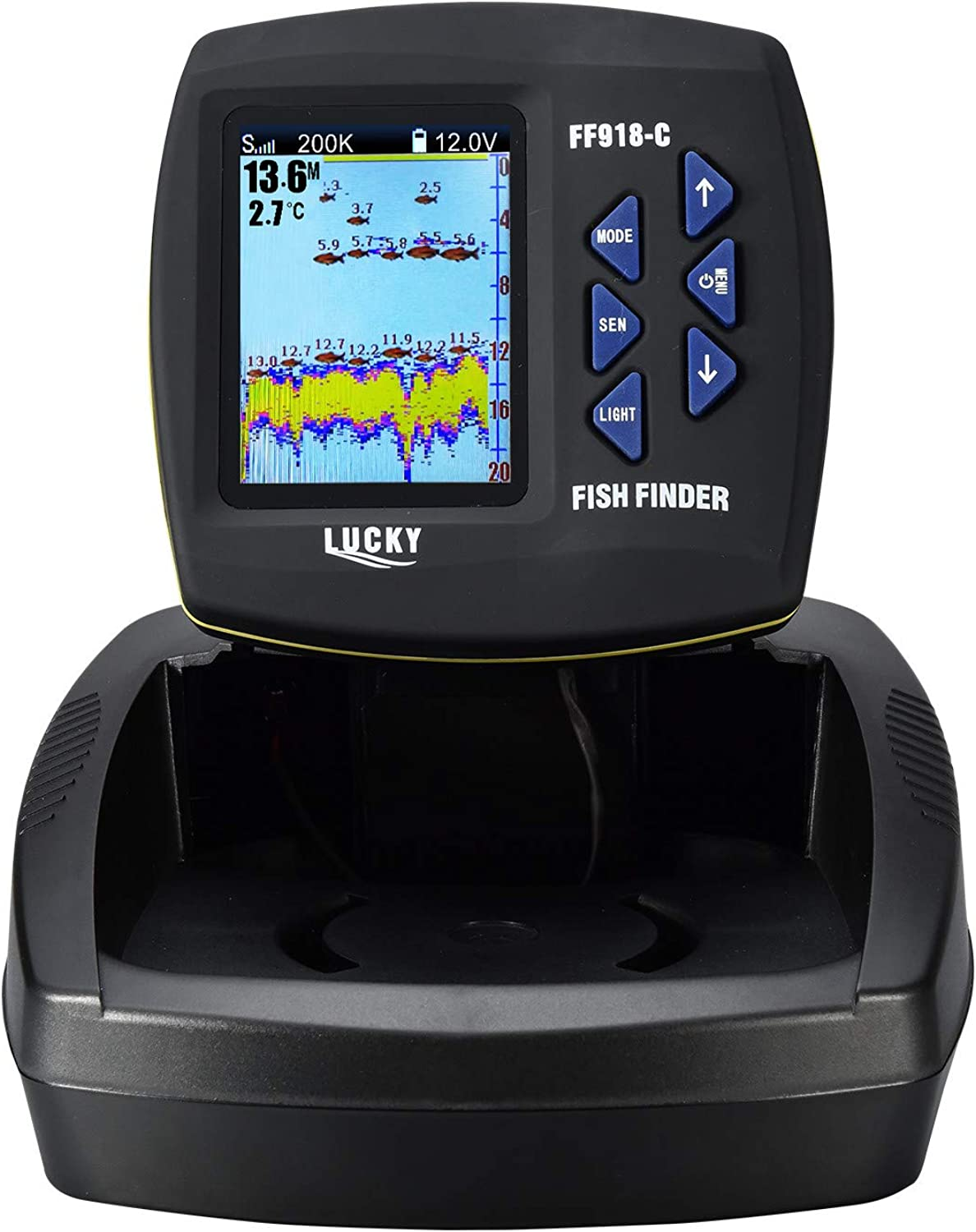 LUCKY Fish Finder for Boat Fishing Kayak Fishing 3.5inch Colour Screen Fishfinder with DualBeam Sonar transducer 180M Detecting Depth