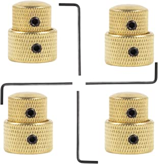 Guitar Dual Concentric Control Knobs 4PCS Gold Dome Volume Tone Stacked Knob with Wrench for Electric Guitar