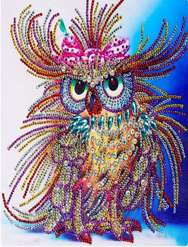 NYEBS DIY 5D Diamond Painting Kit for Adults Children, 5D DIY Diamond Painting Special Shaped Drill Animal Owl Rhinestone Embroidery for Wall Decoration 12X16 inches