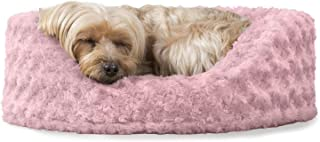 Furhaven Pet Dog Bed   Oval Ultra Plush Pet Bed for Dogs & Cats, Pink, Small