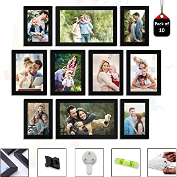 Art Street Set of 10 Individual Black Wall Photo Frames Wall Decor Free Hanging Accessories Included ||Mix Size||8 Units 4x6, 2 Units 6x10 inches||