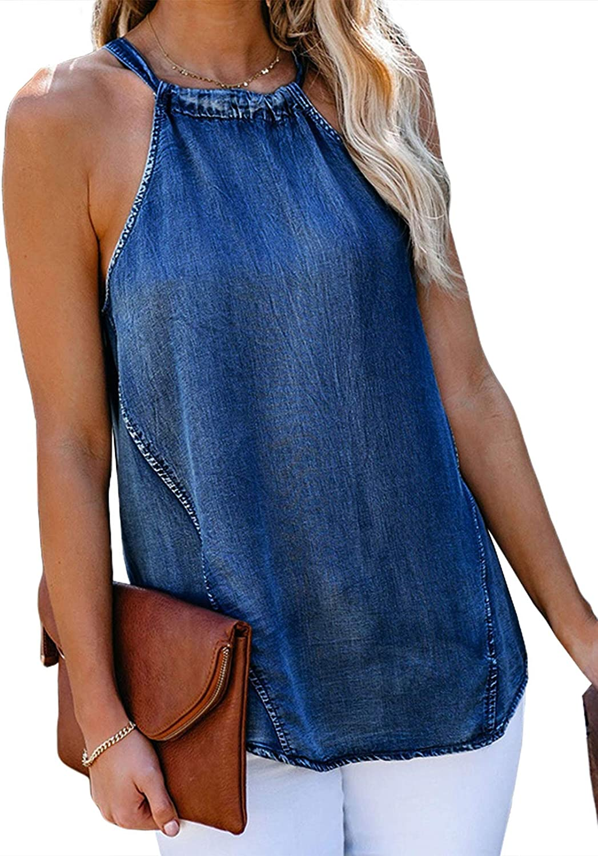 Happy Sailed Women's Halter Denim Tank Tops Casual Summer Sleeveless Cami Shirts Blouse(S-XXL)