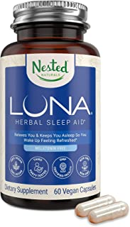 Nested Natural Luna Sleep Aid Supplement Melatonin-Free | Natural Sleeping Pills for Adults | Fall Asleep Faster & wakeup ...