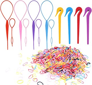 Uspeedy- Colorful Elastic Hair Bands, 1000 Pcs Rubber Hair Bands 8 Pcs Topsy Hair Tail Tools 4 Pcs Pony Pick for Toddlers Girls