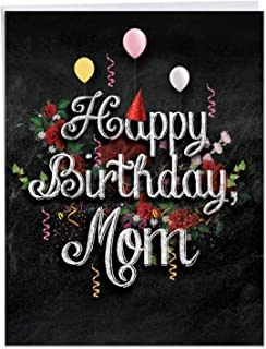 Supersized Happy Birthday Card 8.5 x 11 Inch - 'Chalk and Roses - Birthday Card' Happy Appreciation Card - Birthday Greeting Card for Your Mother - Bday Printed Card w/Envelope J6479CBMG