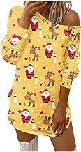 L9WEI Kerstjurk voor dames, casual jurk, ronde hals, lange mouwen, off-shoulder, mini-jurk, modieuze winterjurk voor Kerst...