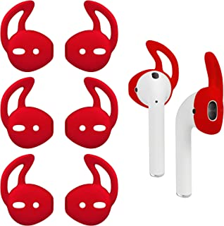 AirPods Ear Hooks, Secure-Fit Eargels Cover Tips, Silicone Wing Earbud Covers for Apple Headphones, Pair of 4 (Red)