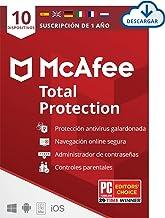 McAfee Total Protection 2020, 10 Dispositivos, 1 Año, Software Antivirus, Seguridad de Internet, Móvil, Control Parental, Compatible con PC/Mac/Android/iOS, Edición Europea, Descarga