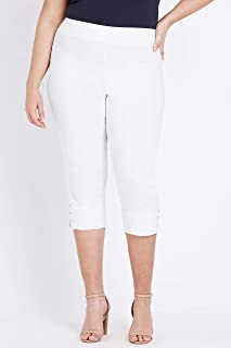 Beme Crop Pull On Bengaline Pant White 24 - Womens Plus Size Curvy