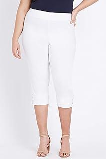 Beme Crop Pull On Bengaline Pant White 24 - Womens Plus Size Curvy