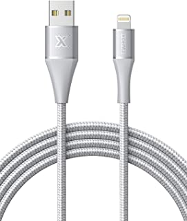 Xcentz iPhone Charger 6ft, MFi Certified iPad Charger Lightning Cable Braided Nylon Charging iPhone Cable with Premium Metal Connector for iPhone 11/11 Pro/X/XS/XR/XS Max, iPad Mini-Silver