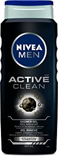 NIVEA MEN Active Clean Shower Gel (500mL), Mens Body Wash for Use as Body and Hand Soap, Liquid Soap with Activated Charco...