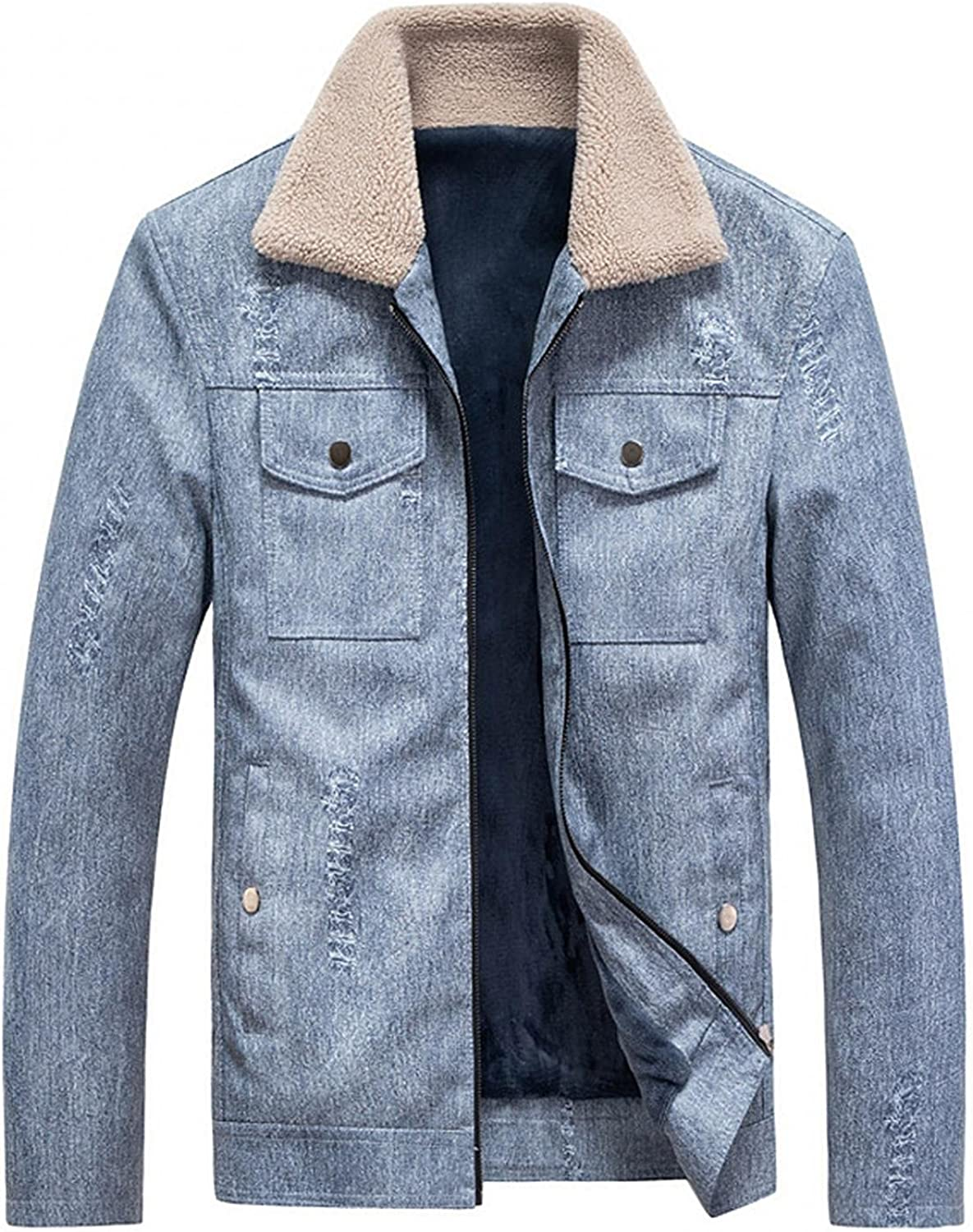 Stoota Men's Gentle Layered Faux Leather Motorcycle Jackets, Stand Collar Quilted Lined Full Zip Warm Thermal Pea Coats